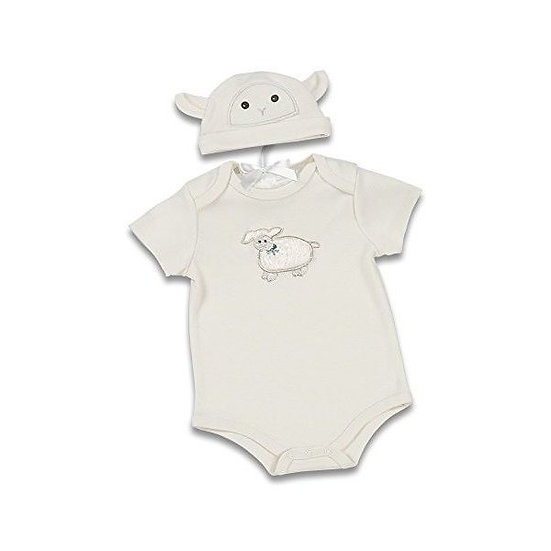 Bearington baby embroidered little lamb onesie set with matching beanie