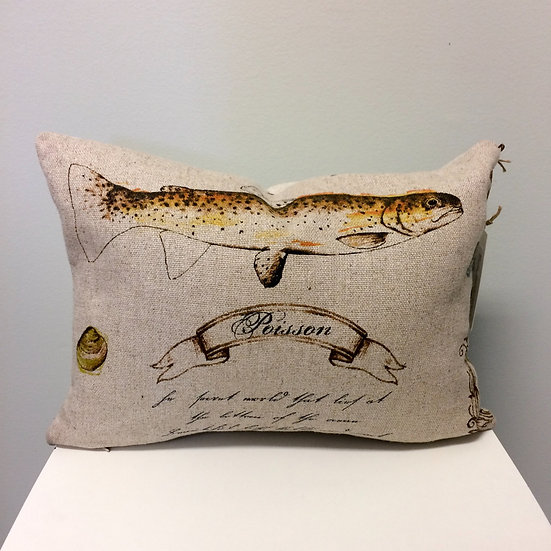 French script throw pillows with a coordinating fish print
