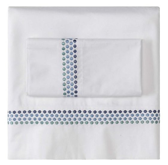 White organic percale sheets with blue embroidered border