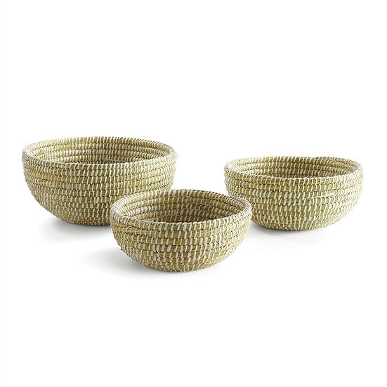 Hand woven rivergrass low bowl baskets in multiple sizes