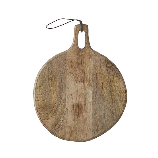 Large round mango wood charcuterie board with handle