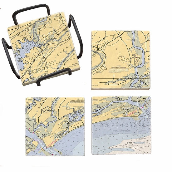 Kiawah Nautical Map Marble Coaster Set