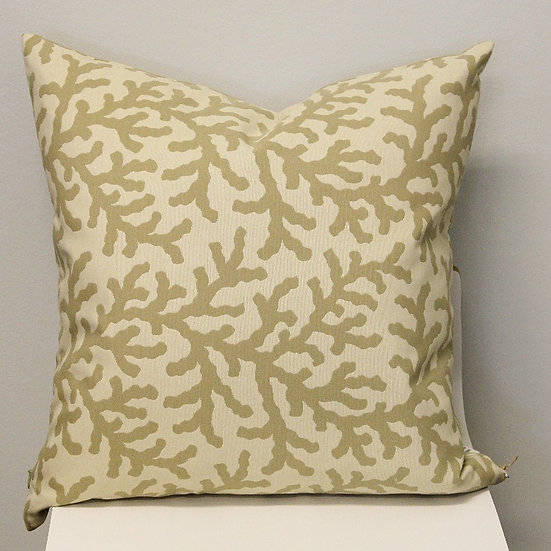 Beachy accent pillow with a beige and taupe all over coral branch pattern