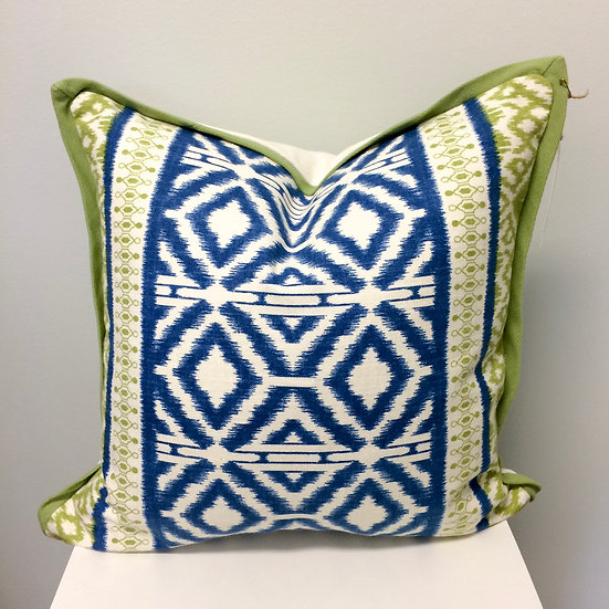 18 inch square throw pillow in a blue and green geometric print