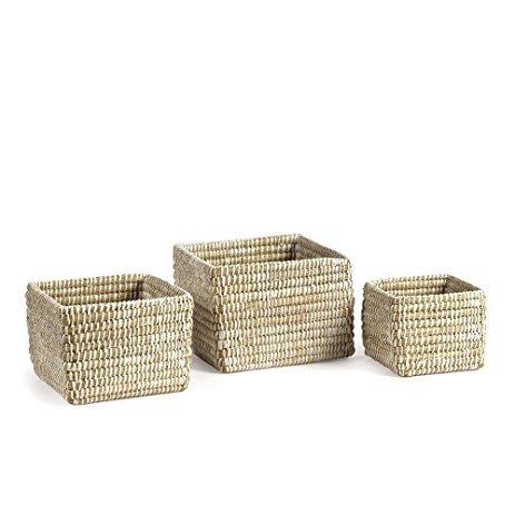 Small hand woven rivergrass square baskets set