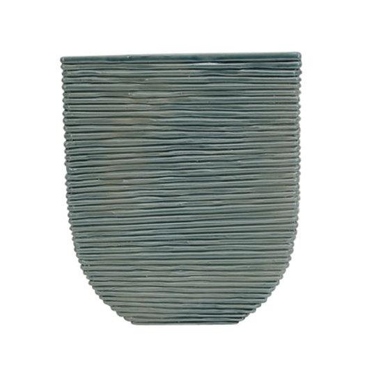 Flat Teal Ceramic Vase
