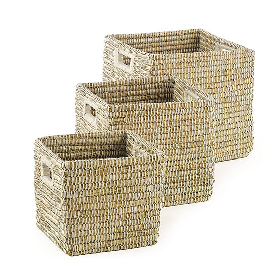 Hand woven square rivergrass baskets with handles for home storage and organization