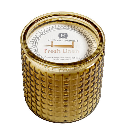Classic Fresh Linen fragrance in a 2-wick scented soy blend glass candle