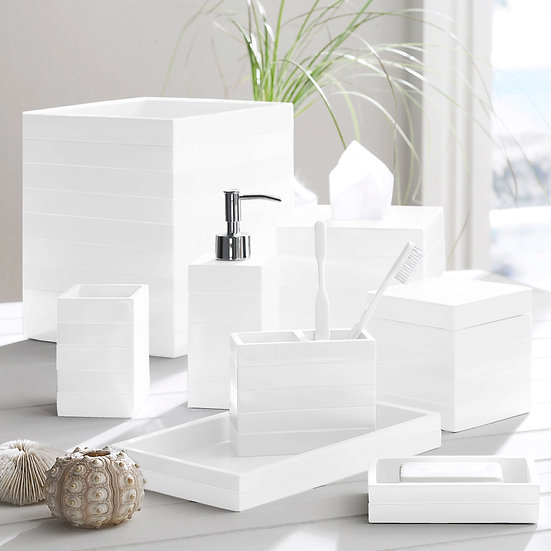 All white bath accessories set with tonal stripe texture
