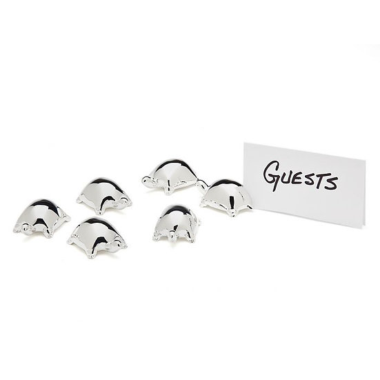 Set of 6 shiny silver placecard holders in the form of turtles