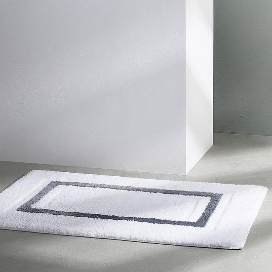 Aubergine Home Collection bathroom decor store Framed Stripe luxury bathroom rug by Kassatex