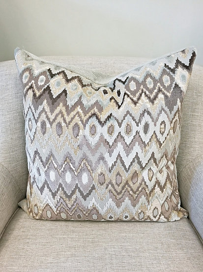 Cut velvet flame stitch accent pillow in shades of light aqua and beige