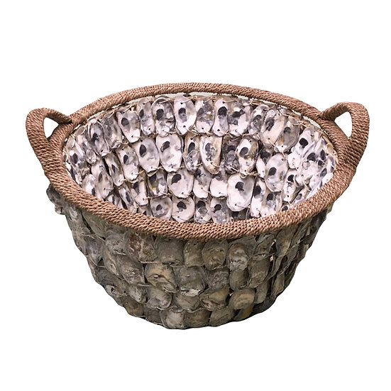 """20"""" round deep oyster shell and rope decorative basket with handles"""