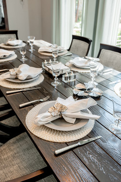Elegant coastal place settings and table-top decor by Aubergine Home Collection