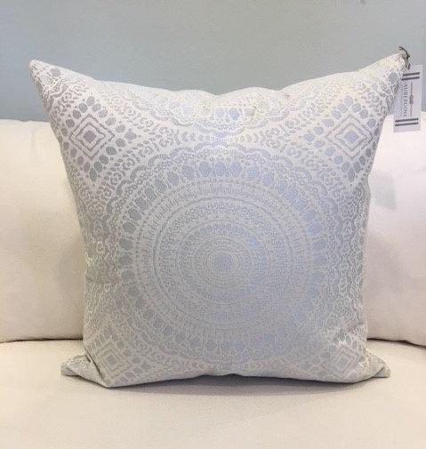 Elegant silver medallion throw pillow