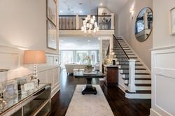 Foyer entryway of elegant coastal home on Kiawah Island South Carolina decorated by Aubergine Home