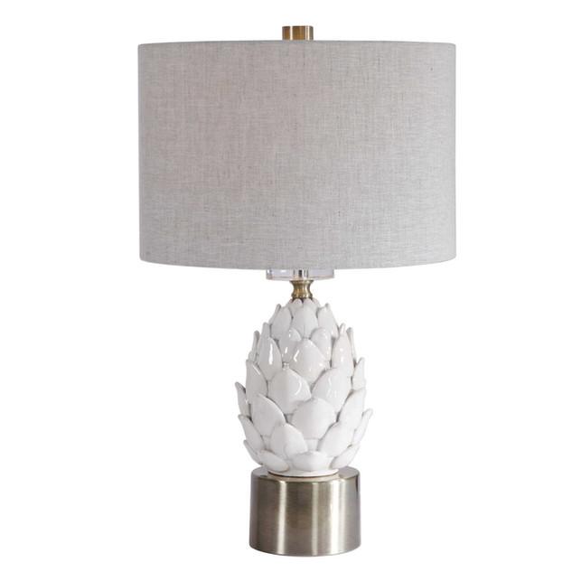White Ceramic Artichoke Table Lamp