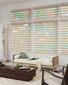 Hunter Douglas Pirouette window shades in living room