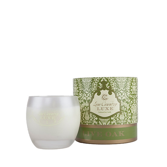 Luxury scented candle in Live Oak scent by Lowcountry Luxe