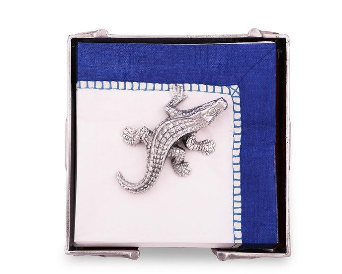 Silver alligator napkin weight