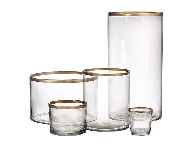 Gold Rim Glass Vases
