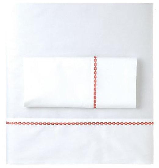 Ashton coral embroidered sheet set
