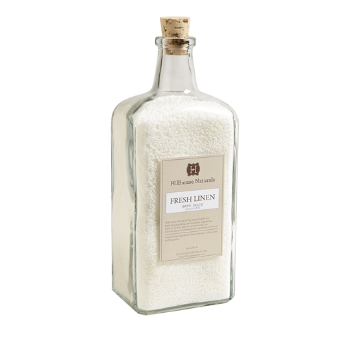 Fresh Linen scented bath salts in a reusable 31 oz glass bottle