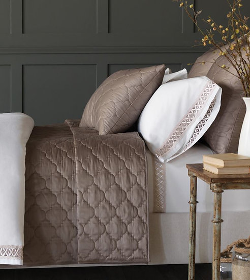 Viola satin quilted coverlet and matching shams in color fawn
