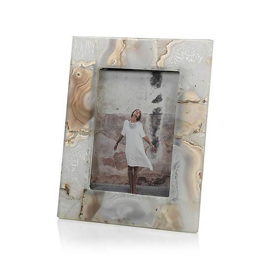 Preto natural agate stone picture frame for 4x6 photo