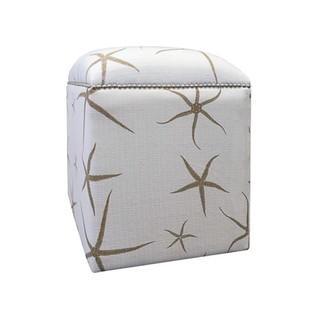 Beige Starfish Upholstered Cube Ottoman