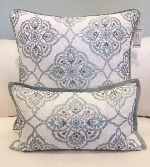 Aqua/Silver Embroidered