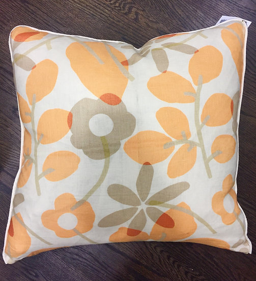 Stylized flower print throw pillow in ivory beige and orange