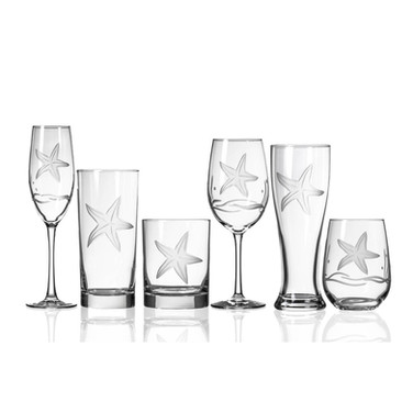 Starfish Etched Crystal Drinkware