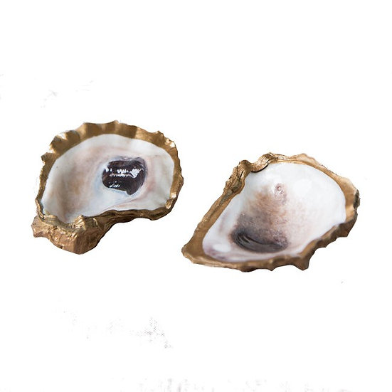 Natural oyster shell ring holder dish painted in gold