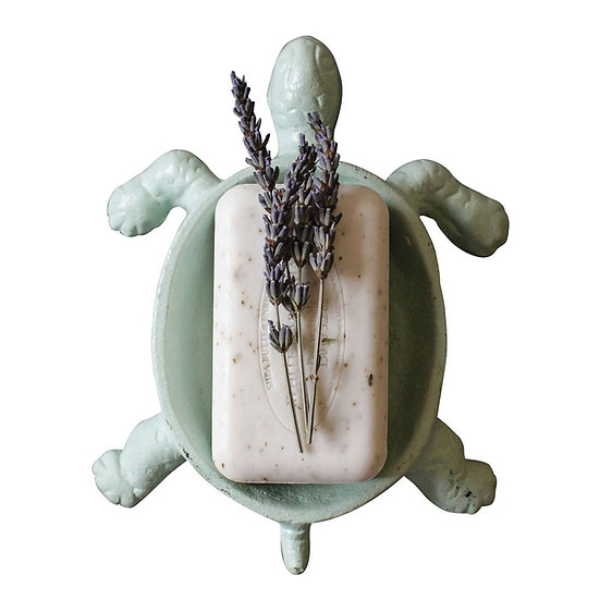 Cast iron sea turtle soap dish in a light aqua finish