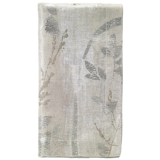 Avignon linen dinner napkin with printed pearlescent gold leaf pattern