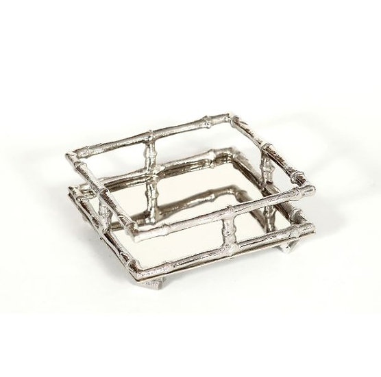 Silver bamboo cocktail napkin holder