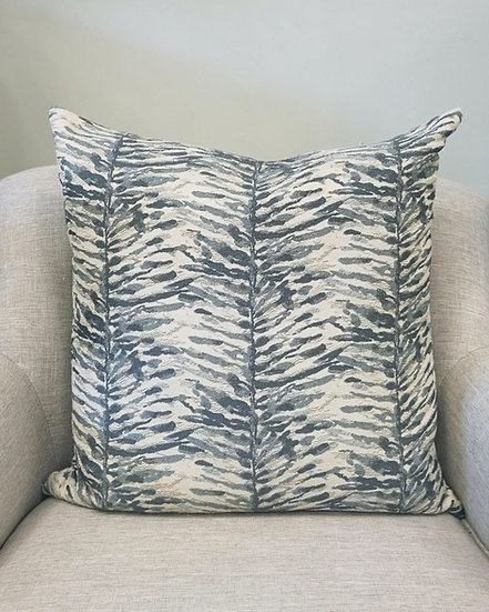 Abstract zebra pattern throw pillow in shades of blue and beige