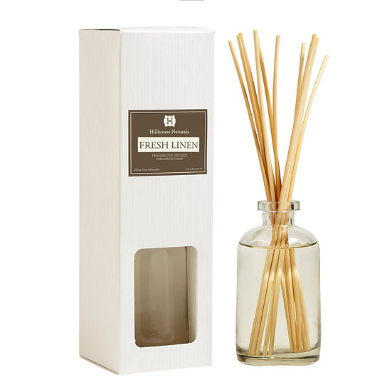 Fresh Linen home fragrance diffuser with scented reeds and glass bottle