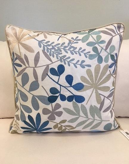 22x22 Blue Embellished Floral