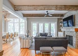 Modern beach house great room with exposed beam ceilings on Kiawah Island