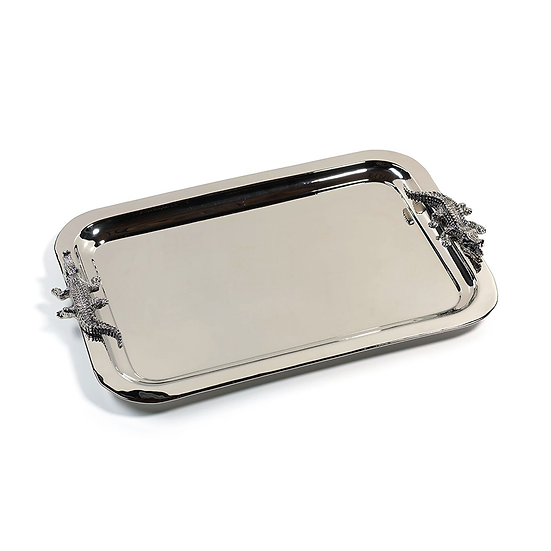 Nickel-plated large serving tray with crocodile handles