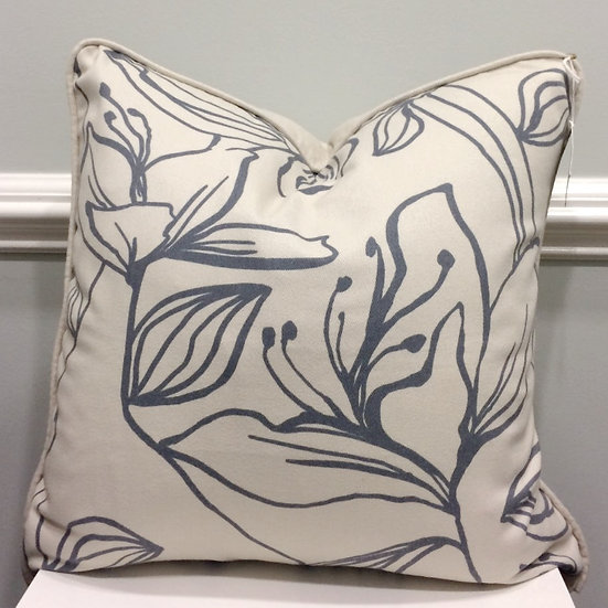 20 inch square throw pillow in a grey printed botanical pattern