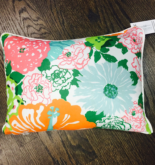 Vibrant botanical printed throw pillow featuring the Heritage Floral pattern by Lilly Pulitzer