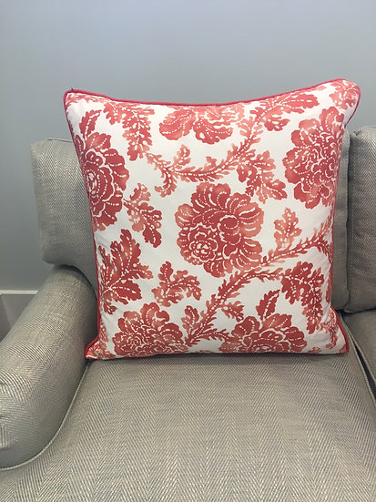 Morning Tide botanical throw pillow in shades of coral