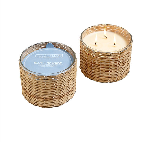 Blue Seaside Handwoven Candle