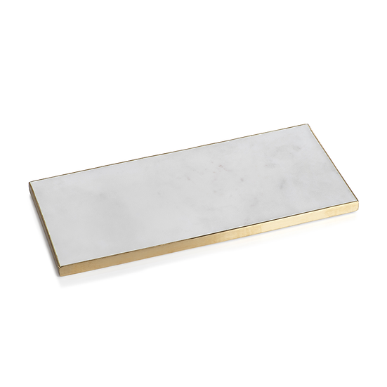 Rectangle white marble tray with brass trim edge