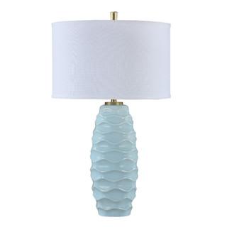 Rodez Sky Blue Ceramic Waves Table Lamp