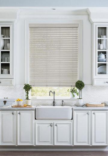 Hunter Douglas custom horizontal blinds in kitchen