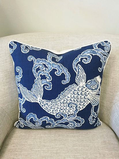 20 inch square blue and white koi fish throw pillows